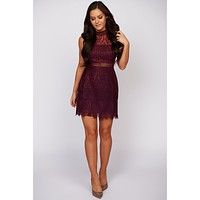 Make My Night Sleeveless Lace Dress (Burgundy)