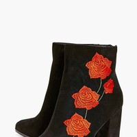Bella Floral Stitch Block Heel Boot | Boohoo