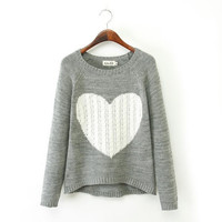 Autumn Winer New Fashion Women's Heart Pattern Knitted Pullover Sweaters Gray Blue = 1828255492