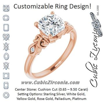 Cubic Zirconia Engagement Ring- The Natsumi (Customizable 3-stone Cushion Cut Design with Small Round Accents and Filigree)
