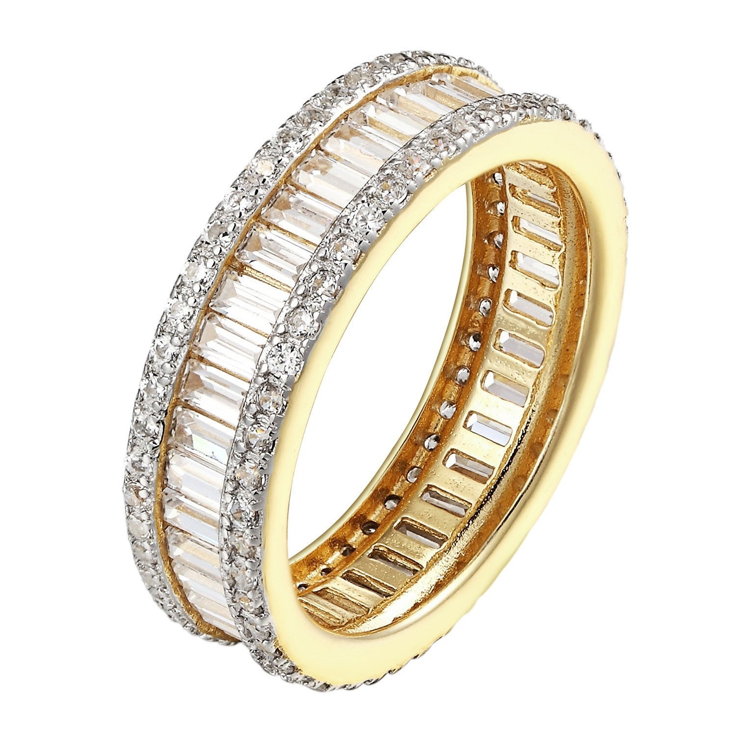 Image of Ladies 925 Sterling Silver Baguette CZ Eternity Band Yellow Gold Finish SZ 6 7 8