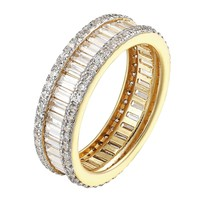 Ladies 925 Sterling Silver Baguette CZ Eternity Band Yellow Gold Finish SZ 6 7 8