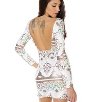 TRIBAL SEQUIN DRESS - Open Back White Tribal Sequin Bodycon Dress featuring Multicolor Sequin Details & Long Sleeves