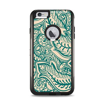 The Delicate Green & Tan Floral Lace Apple iPhone 6 Plus Otterbox Commuter Case Skin Set