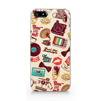 M-016-Pattern speaker hat lips iPhone 5 5S case, iPhone 4 4S case, Free shipping