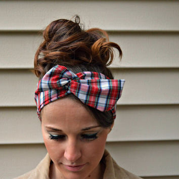 Red Plaid dolly bow headband- Dollybow Head Band- 100% silk