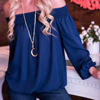 Nashville Smocked Top - Navy