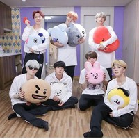 KPOP BTS Bangtan Boys Army New BT21 Korean Style Fashion K Pop   Boys Cute Cartoon Doll Pillow Bolster Plush CHIMMY TATA KOYA RJ COOKY SHOOKY AT_89_10