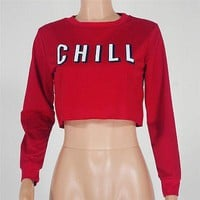 Netflix and chill pullover crop sweatshirt