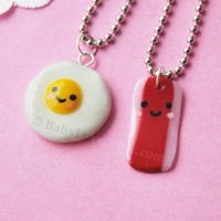 Kawaii Happy Bacon and Egg BFF Necklace Set of 2 by BabyLovesPink