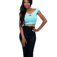 Mint & White Stripe Knotted Off The Shoulder Crop Top