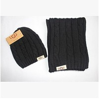 UGG scarves hat two - piece fashion winter warm ugg scarf suit brand foreign trade scarf suit Black