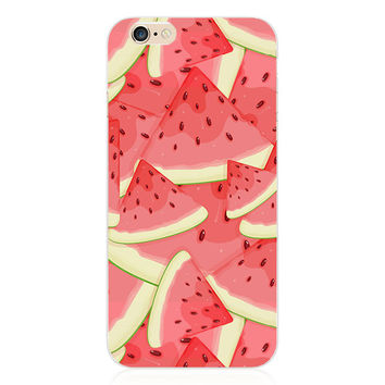 Luxury Transparent Red Pink Watermelon Slices Collage Painting Elaborate Silicon Phone Case Cover Shell For Apple iPhone 5 5S SE