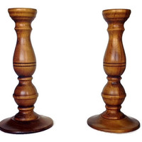 Baribocraft Candlestick Set of Two, Large, Rustic Wood Taper Candle Holders, Mid Century