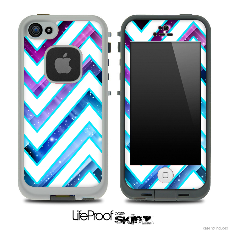 Image of Large Chevron and Blue Magic Skin for the iPhone 5 or 4/4s LifeProof Case