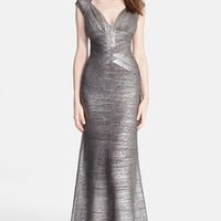 Women's Herve Leger Flared Foiled Bandage Gown