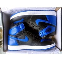 Bunchsun Nike Air Jordan Retro 1 Black-Blue Red Contrast Sports shoes High Tops