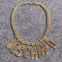 Moschino New fashion hot pendant women and men necklace Golden