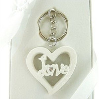 Wedding Bridal Shower Anniversary Party Favor Souvenir Gift Keepsake Ready Made, Key Chain, Love with Heart