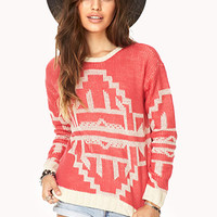 FOREVER 21 Contrast Southwestern Pattern Sweater Hot Pink/Cream