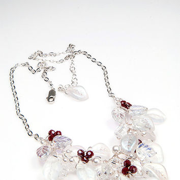 Red White Beaded Necklace,  Bib Necklace, Bridal Jewelry,  Wedding Necklace,