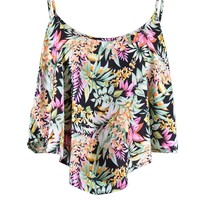 Timing Showroom Midsummer Nights Dream Floral Print Loose Short Crop Top Shirt
