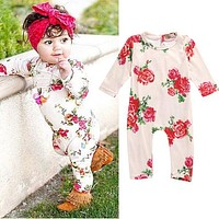 Cute Newborn Baby Girls Floral Long Sleeve Romper Winter Fleece Retro  Toddler Girl Clothes Jumpsuit