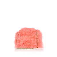 River Island Womens Coral feather cross body bag