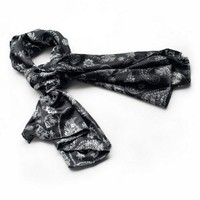Blancho Black Flower and Paisley Noble Decent Soft Natural Silk Scarf