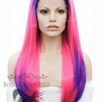 """24 inch Heat Safe Synthetic Straight Texture Lace Front """"Aphrodite"""" in Purple Root and Tipped Hot Pink"""