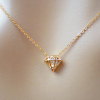 Cubic diamond necklace, goldfilled necklace, jewelry, pendant necklace, simple, dainty necklace, gift for her, unique design necklace