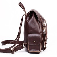 FunShop Women's Simple Style PU Backpack with Double Buckle Detail D1126