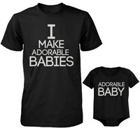 365 In Love I Make Adorable Babies Men's T-Shirt and Adorable Baby Bodysuit Set