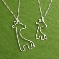 Mother and Baby Giraffe Necklace Set Sterling by Dragonfly65