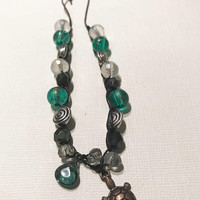 turtle beaded adjustable bracelet with silver bronze green and clear decretive beads summer accessories