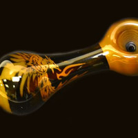 """Glass Pipe 4"""" with Phoneix in Flames"""