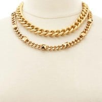 Textured & Studded Chain Necklace by Charlotte Russe - Gold