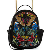 Alexander McQueen Small Embroidered Chain Backpack, Black/Multi