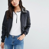 Brave Soul Bomber Jacket With Faux Fur Trim at asos.com