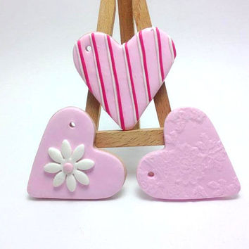 50 or 100 Pink Decorative Hearts, Girl Baby Shower, Baptism Gifts, Favors, Baptism Decor, First Communion, JosCreationsGR