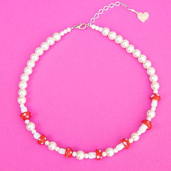 Pearl Mushroom Patch Necklace