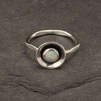 Opal Ring- Silver Opal Ring- Sterling Silver Gemstone Ring- Modern Opal Ring with hammered band- Handmade Sterling Silver jewelry- size 6.5
