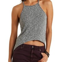 Racer Front Ribbed High-Low Tank Top by Charlotte Russe