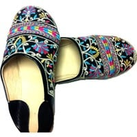 Embriodered Leather flats