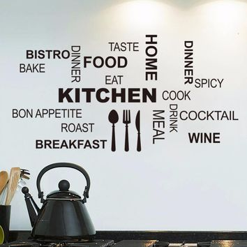 Kitchen Wall Quotes Art food wall stickers diy vinyl adesivo de paredes home decals art posters Sofa Wall Home Decoration