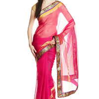 Pink Net Saree with Golden Floral Embroidered Border
