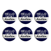 Aaden Hello My Name Is Plastic Resin Button Set of 6
