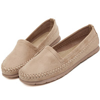 Solid Slip-On Sewing Flat Shoes