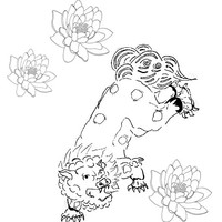 Foo Dog Tattoo Coloring Page