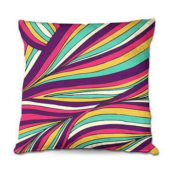 Vibrant Colorful Throw Pillow in Palm Frond Art Pattern in Yellow, Turquoise, Hot Pink and Purple – 3 Sizes Available